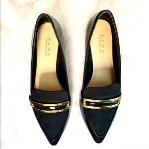 Zara Trafaluc Navy Blue Loafers w/ Gold Accent 9
